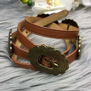 Vintage Skinny Brown Leather Belt Gold Medallion